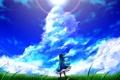 Картинка небо, девушка, солнце, облака, свет, ветер, луг