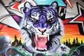Картинка цвета, тигр, стена, граффити, Graffiti
