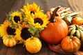 Картинка подсолнухи, цветы, стол, тыквы