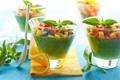Картинка ложка, стаканы, фрукты, овощи, фреш, салфетки