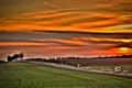 Картинка закат, машины, небо, дорога