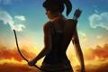 Картинка взгляд, девушка, лицо, оружие, игра, лук, арт