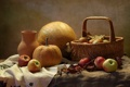 Картинка корзина, яблоки, лук, тыква, натюрморт