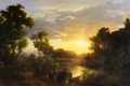 Картинка деревья, пейзаж, картина, рыбаки, Marko Karoly, italian Landscapes at Sunset Fishermen