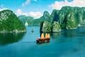 Картинка побережье, Вьетнам, panorama, Vietnam, залив Ха Лонг, прогулочная джонка, Ha long bay