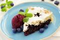 Картинка десерт, черника, черничный пирог, листья мяты, мороженое
