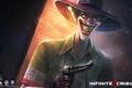 Картинка пистолет, улыбка, револьвер, infinite crisis, joker, оружие