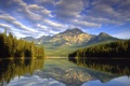 Картинка природа, облака, горы, озеро
