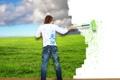 Картинка поле, небо, трава, облака, брызги, креатив, краска
