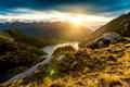 Картинка горы, камни, скалы, Новая Зеландия, залив, лучи солнца, фьорды