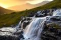 Картинка закат, горы, камни, водопад, домик