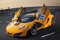 Картинка жёлтый, макларен, yellow, открытые двери, MP4-12C, GT3, двери-бабочка