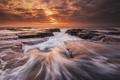 Картинка море, волны, пляж, океан, скалы, утро, выдержка