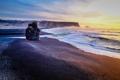 Картинка пляж, скала, океан, рассвет, побережье