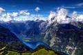 Картинка облака, деревья, озеро, высота, Горы