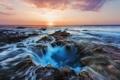 Картинка камни, океан, вечер, Гавайи, США, потоки, Каилуа-Кона