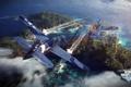 Картинка самолет, остров, aviation, авиа, MMO, Wargaming.net, World of Warplanes