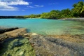 Картинка небо, вода, пейзаж, природа, камни, пальмы, океан