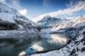 Картинка облака, небо, зима, горы, снег, озеро