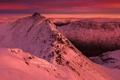 Картинка Winter, Landscape, Sunset, Mountains, Helvellyn