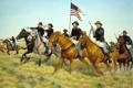 Картинка трава, оружие, флаг, лошади, солдаты, америка