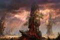 Картинка деревья, пейзаж, скалы, молнии, лава, колонны