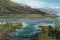 Картинка снег, горы, природа, река, холмы, рисунок, растения