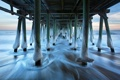Картинка зима, море, пейзаж, мост, лёд