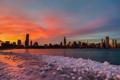 Картинка небо, закат, небоскребы, вечер, Чикаго, USA, Chicago