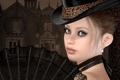Картинка девушка, веер, шляпка, особняк