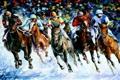 Картинка спорт, лошади, наездники, art, скачки