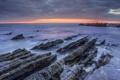 Картинка закат, берег, небо, Море, скалы, тучи