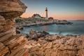 Картинка пейзаж, скалы, маяк, море