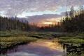 Картинка лес, природа, озеро, рассвет