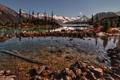 Картинка вода, снег, деревья, горы, камни, речка