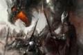 Картинка оружие, дракон, доспехи, арт, пасть, шлем, битва