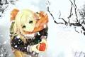 Картинка зима, снег, подарок, аниме, девочка, сердечко, снегопад
