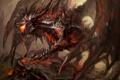 Картинка фантастика, дракон, крылья, арт, пасть, когти, лава