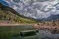 Картинка горы, камни, лодка, Калифорния, California, Lake Sabrina, Озеро Сабрина