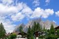 Картинка небо, облака, деревья, горы, город, фото, дома