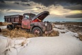 Картинка metal, snow, truck, abandoned, rust, dry vegetation
