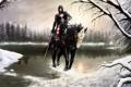 Картинка зима, девушка, воин, на коне, Death Dealer