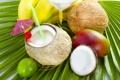 Картинка кокос, бананы, коктейль, лайм, фрукты, манго, fresh