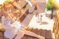 Картинка крыша, листья, лучи, радость, зеленый, дерево, ветер
