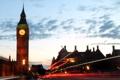 Картинка небо, облака, мост, движение, здание, часы, Лондон