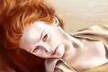 Картинка взгляд, девушка, лицо, волосы, портрет, губы, лежит