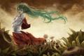 Картинка девушка, подсолнухи, цветы, ветер, волосы, рисунок, touhou