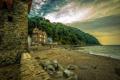 Картинка море, камни, побережье, Англия, гора, дома, подъемник