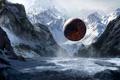 Картинка зима, горы, шар, арт, сфера