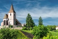 Картинка деревья, Франция, церковь, France, Hunawihr, Юнавир, Церковь Сен-Жак-ле-Мажёр